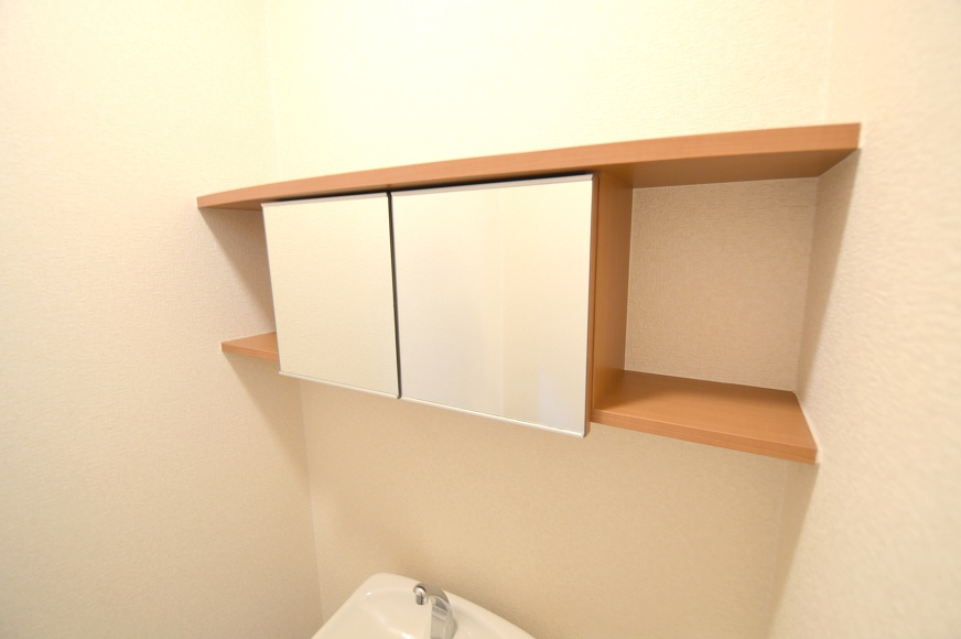鏡付きペーパー収納棚